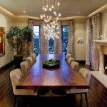 Cascading Chandelier Coupled Live Edge Table Dining Room