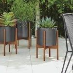 Case Study Planters Black Walnut Modern Outdoor Furniture