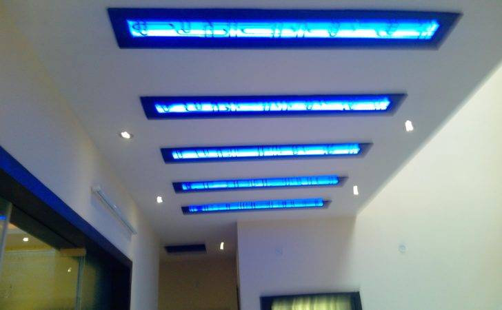Ceiling Design Lobby Area Blue Cove Lights Covered