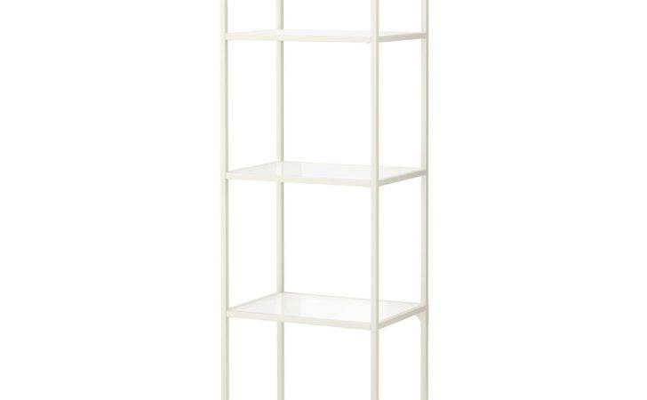 Ceiling Suspended Glass Shelves Vittsja Shelf Unit White
