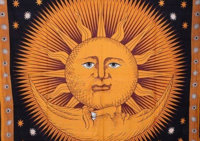 Celestial Tapestry Sun Moon Tapestries Bohemian Wall Hanging Hippy