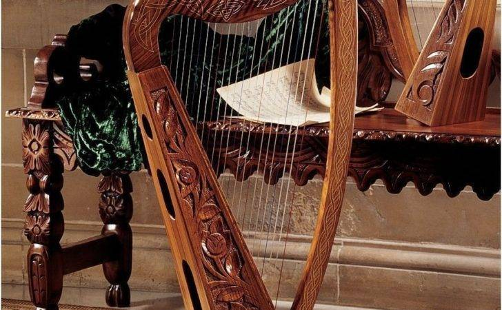 Celtic Rosewood Hand Carved String Harp Home Decor New Ebay