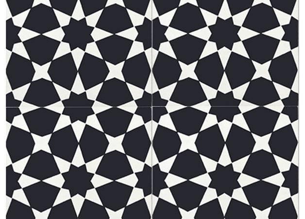 Cement Tile Black White Set Wall Floor