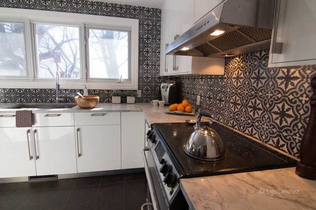 Cement Tiles Backsplash Contemporary Kitchen Montreal