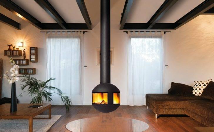 Central Hanging Fireplace Agorafocus Focus Design Dominique