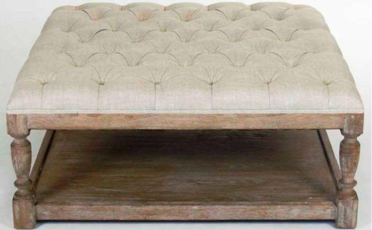 Century Round Natural Diy Padded Large Fabric Ottomans Coffee Tables