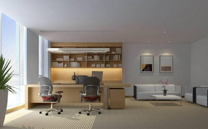 Ceo Office Interior Wall Decoration Bookcases Design