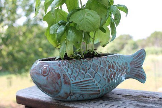 Ceramic Fish Planter Robin Egg Blue Terracotta Etsy