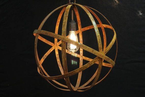 Chandeliers Sphere Metal Wine Barrel Strap Globe Hanging Chandelier