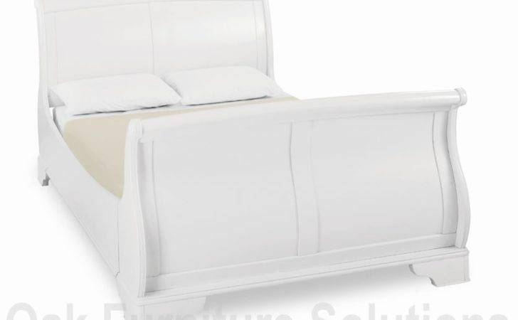 Chantilly White Painted Sleigh Bed Double King