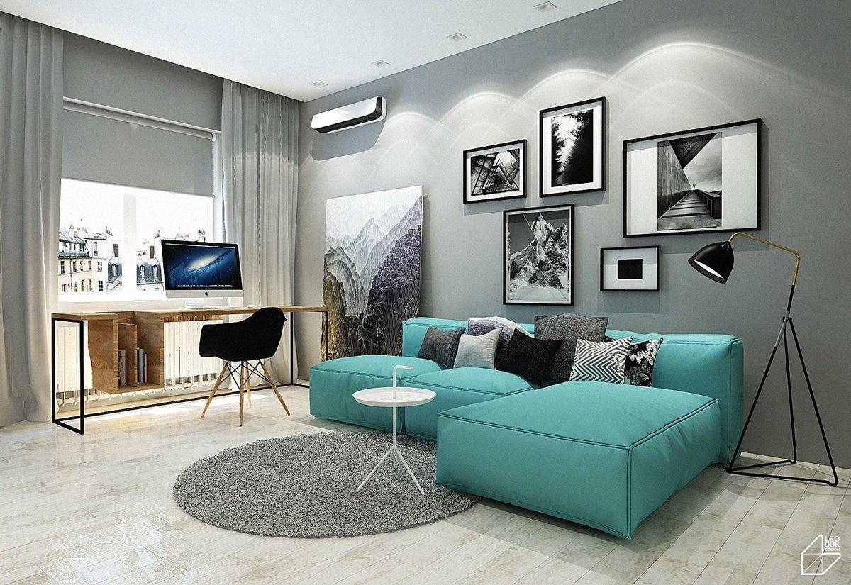 Charming Blue Accent Apartments Compact Layouts