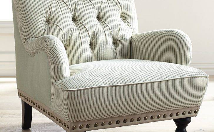 Chas Blue White Seersucker Armchair Pier Imports
