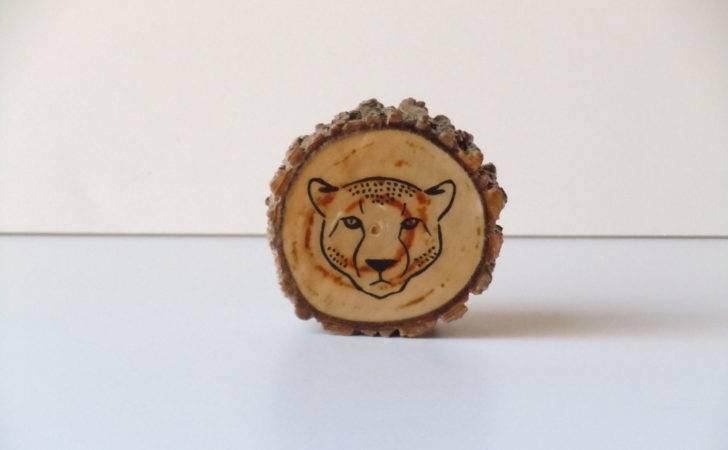 Cheetah Wood Slice Art Reclaimed Nursery Rustic