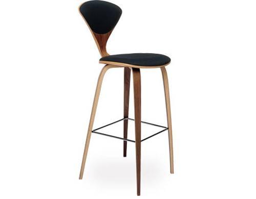 Cherner Wood Leg Stool Upholstered Seat Back Hivemodern