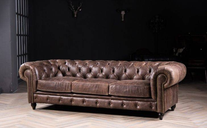 Chesterfield Sofa Classic Vintage Leather