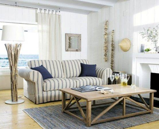 Chic Muted Blue White Beach House Living Room