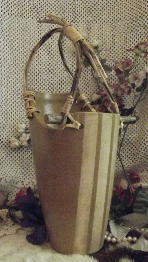 Chic Vintage Pottery Clay Wood Stick Wine Bottle Holder Twig Handle
