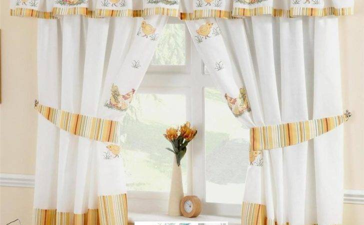 Chickens Roosters Voile Cafe Curtain Panel Kitchen