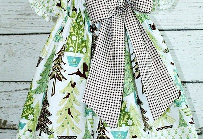 Childrens Peasant Style Dress Whimsical Forrest Christmas