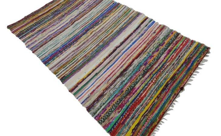 Chindi Cotton Rag Indian Rug Handmade Floor Runner Recycled Hand Woven