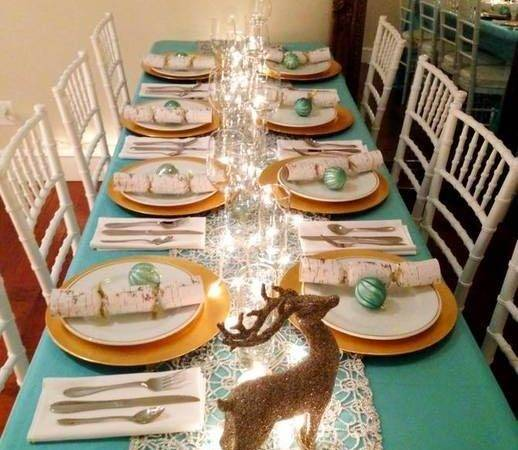 Christmas Decor Table Setting Ideas Using Teal White Gold More