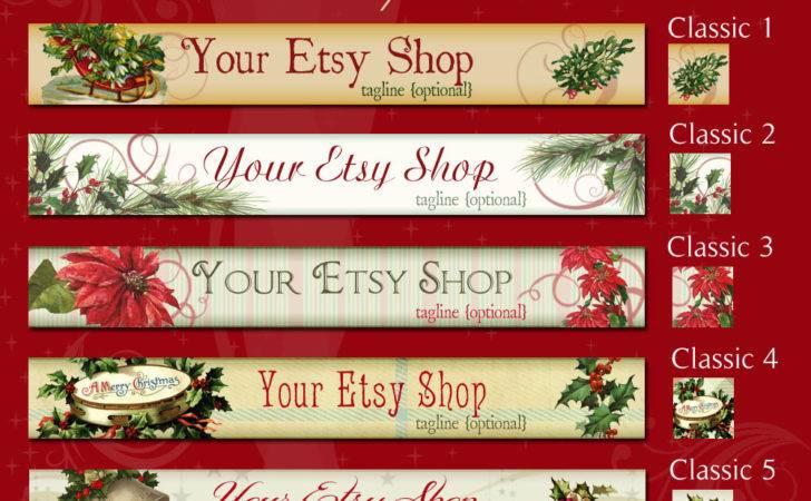 Christmas Holiday Etsy Shop Banner Set Curiouscrowdigital