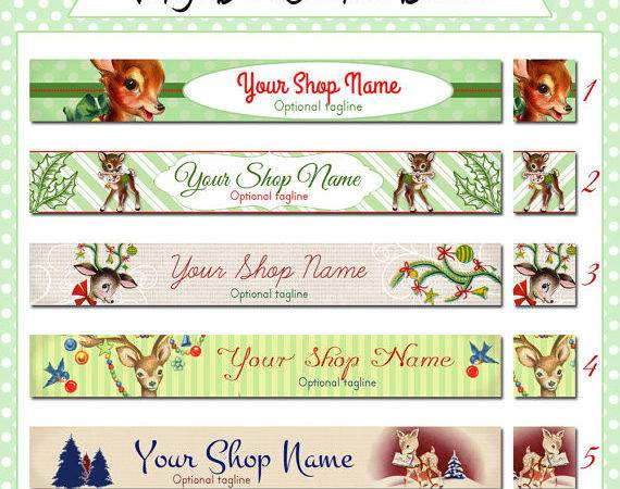Christmas Holiday Etsy Shop Banner Set Cute Vintage Deer Your