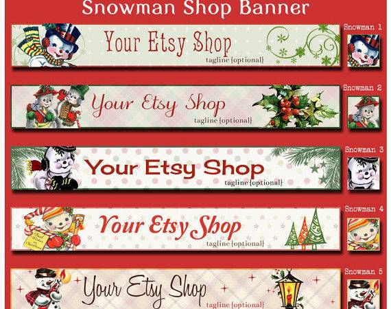Christmas Holiday Snowman Etsy Shop Banner Set Your Choice