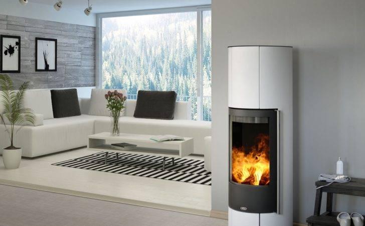 Circular Curved Contemporary Modern Wood Burning Stove Interior