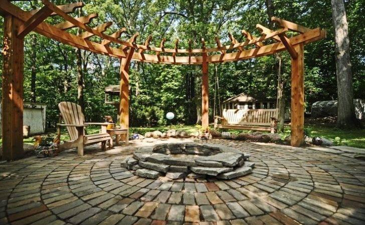 Circular Pergola Stone Patio Fire Pit Garten Pinterest