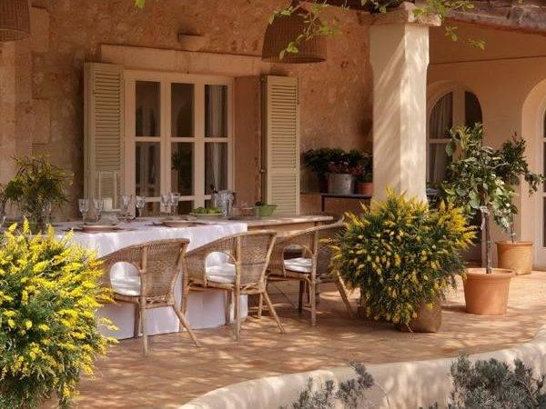 Classic Stone Patio Design Spanish Style