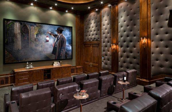 Classy Traditional Media Room Design High Roof