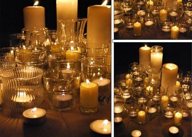 Clear Glass Containers Candles Rustic Woodland Wedding Decor