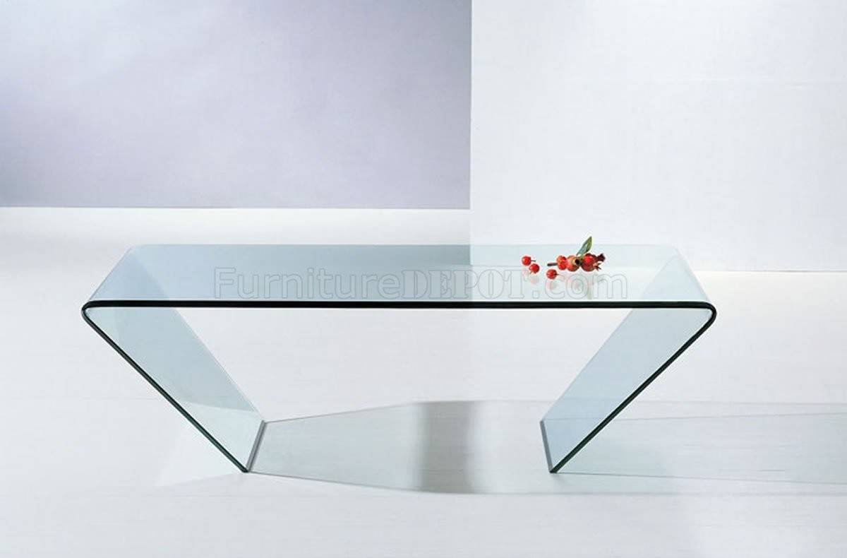 Clear Glass Modern Coffee Table Triangle Shape Design Jmct