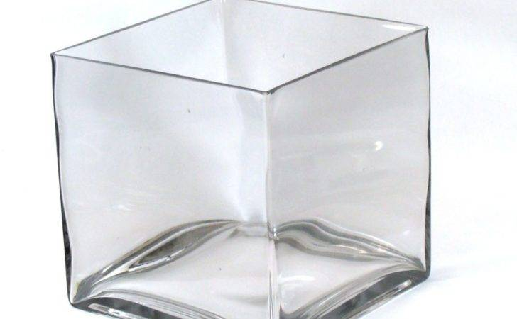 Clear Large Square Glass Vase Cube Inch
