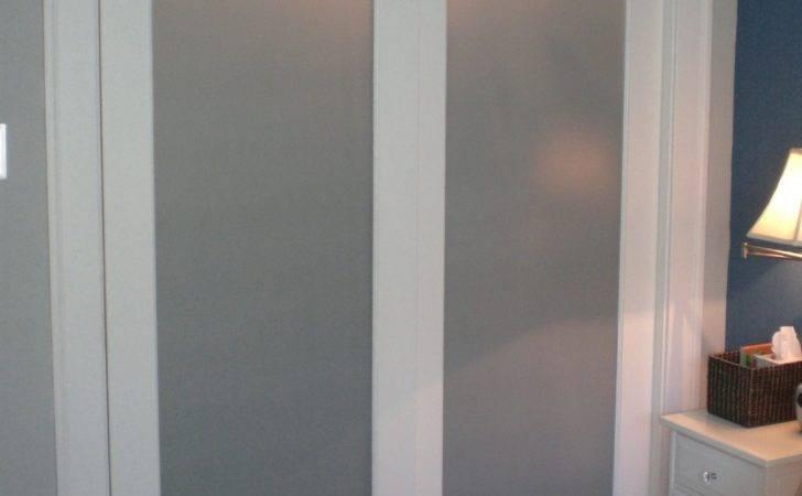 Closet Door Blur Glass White Wooden Frame Sliding