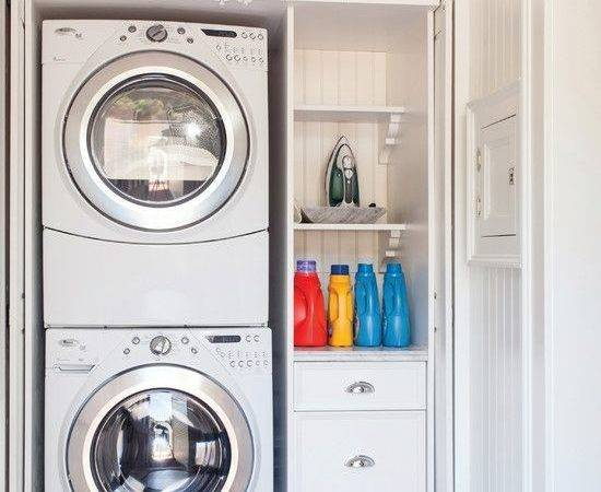 Closet Stackable Front Loading Washer Dryer Storage