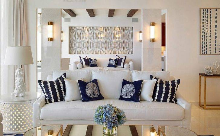 Coastal Inspired Living Room Coffee Table Gold Mirrored