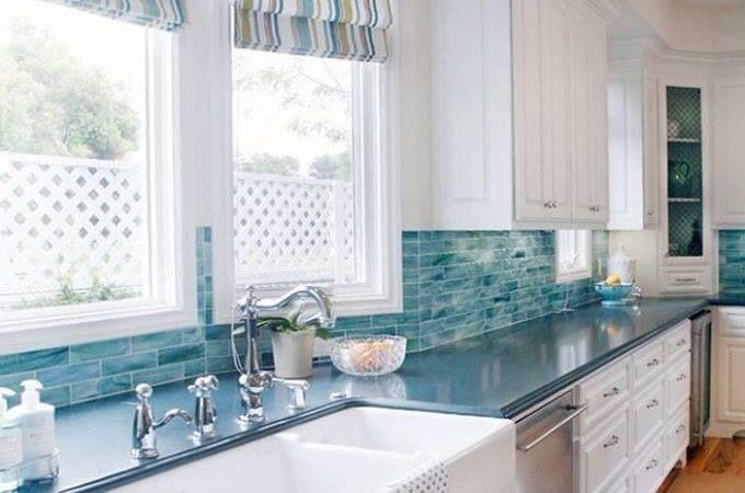 Coastal Kitchen Turquoise Backsplash Living