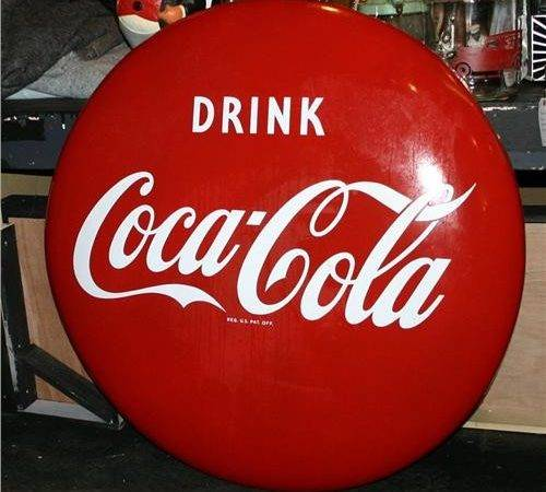 Coca Cola Adv Sign Coke Button
