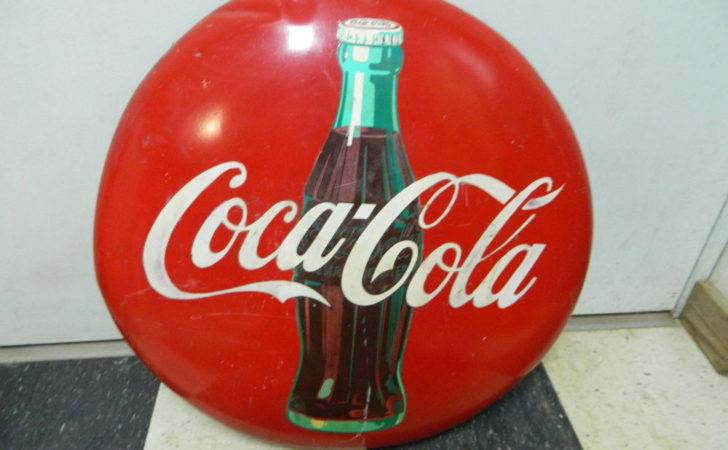 Coca Cola Button Sign Metal Advertising Coke Bottle Ebay
