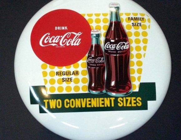 Coca Cola Button Two Convenient Sizes Porcelain Sign Antique