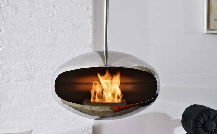 Cocoon Aeris Hanging Fireplace Polished Steel