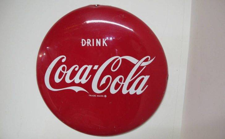 Coke Coca Cola Inch Button Sign Lacks Rust