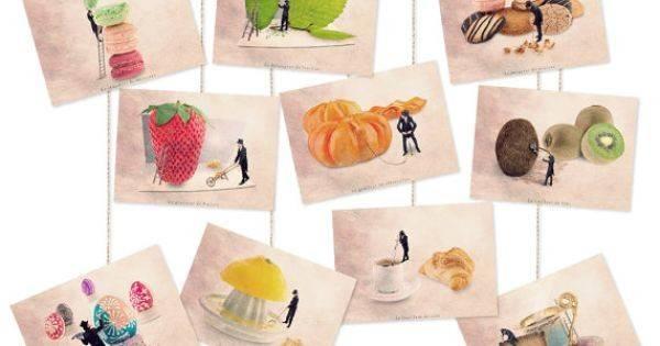 Collection Fruit Prints Kitchen Decor Postcards Set