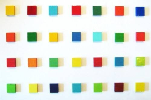 Color Blocks Colorful Painted Wood Wall Sculpture