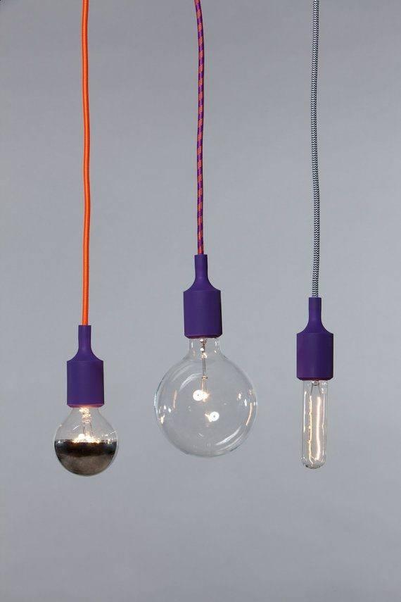Color Cord Pendant Light Purple Socket
