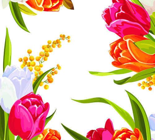 Colored Beautiful Flowers Design Graphics Vector Flower