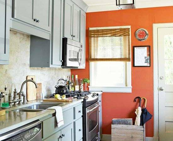 Colored Cabinets Kitchen Orange Accent Wall