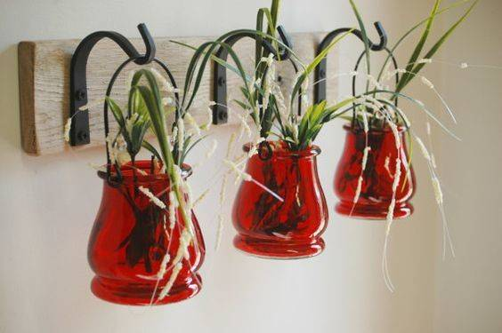 Colored Jar Trio Wrought Iron Hooks Pineknobsandcrickets